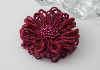 Dark Red Flower Brooch