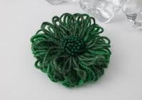 Emerald Green Flower Brooch