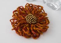 Dark Orange Flower Brooch