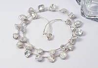 Keshi Pearl and Silver Necklace