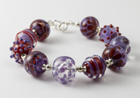 Purple and Red Lampwork Bracelet