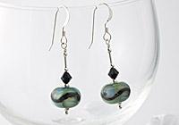 Green swirly Earrings
