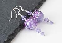 Purple Dahlia Lampwork Earrings