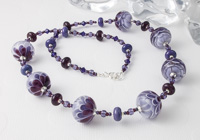 Purple Lampwork Dahlia Necklace Set