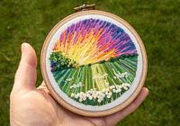 Sunset - Landscape Embroidery Hoop Art alternative view 1