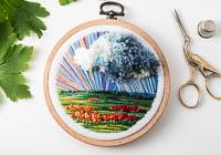 April Showers - Landscape Embroidery Hoop Art