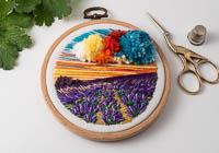 Lavender - Landscape Embroidery Hoop Art