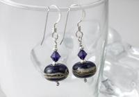 Dark Purple Lampwork Earrings
