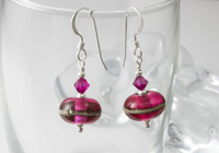 Fuchsia Lampwork Earrings