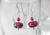 Fuchsia Lampwork Earrings