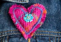 Harris Tweed Heart Brooch