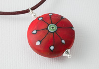 Stone Tumbled Red Lampwork Pendant Necklace alternative view 1