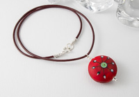 Stone Tumbled Red Lampwork Pendant Necklace