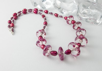 Pink Lampwork Disc Necklace