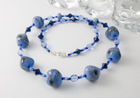 Blue Nugget Glass Lampwork Necklace