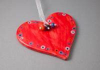 Red Ceramic Heart Hanging