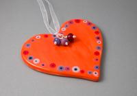 Orange Ceramic Heart Hanging