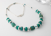 Turquoise and Lampwork Necklace alternative view 1