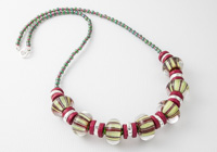 Striped Pink and Green Necklace alternative view 1