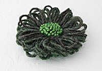 Dark Green Flower Brooch