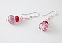 Hand made Pink Lampwork Earrings