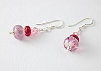 Hand made Pink Lampwork Earrings