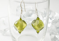 Olive Green Lampwork Earrings