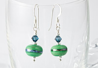 Metallic Banded Lampwork Earrings