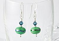 Metallic Banded Lampwork Earrings