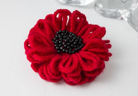 Red and Black Flower Brooch