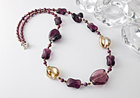 Amethyst Lampwork and Pearl Necklace alternative view 1