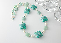 Lampwork Glass, Amazonite and Pearl Necklace alternative view 1