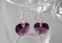 Amethyst Crystal Heart Earrings