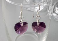 Amethyst Crystal Heart Earrings