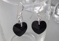 Black Crystal Heart Earrings