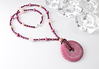 Rhodonite Pendant Lampwork Necklace
