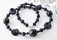 """Pinpoint Sparkle"" Blue Goldstone Necklace"