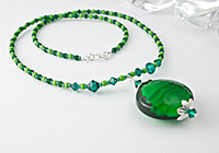 Green Swirl Lampwork Pendant Necklace alternative view 1