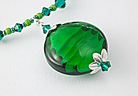 Green Swirl Lampwork Pendant Necklace
