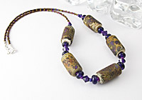 "Beaded Lampwork Necklace ""Purple Stone"" alternative view 1"