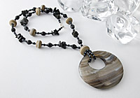 Lampwork and Black Agate Pendant Necklace