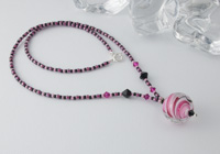 Pink Marble Lampwork Necklace