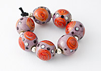 Purple Sunset Rose Lampwork Beads