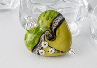 Pistachio Lampwork Heart Pendant