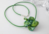 Green Lampwork Rose Necklace