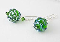 Green Wiggle Lampwork Earrings alternative view 1
