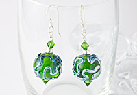 Green Wiggle Lampwork Earrings