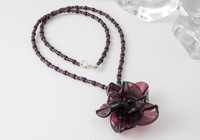 Amethyst Lampwork Rose Necklace