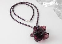 Amethyst Lampwork Rose Necklace