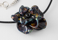 Black Lampwork Rose Necklace